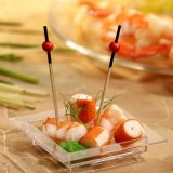 Finger food square plate plastic 7x7 cm glass clear 50-pack