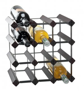 Wine rack in wood and metal for 12 bottles, black