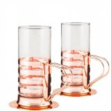 Irish coffee set stainless steel copper plated 2 pack