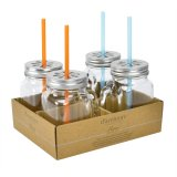 Drinking mug with lid and straw 49 cl 4-pack