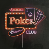 Bartavla Welcome Poker Club med ledbelysning