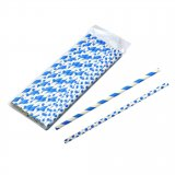 Straws paper blue and white 24-pack