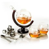 Whiskey decanter Globe 85 cl with 2 glasses and 8 whiskey stones