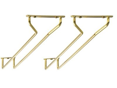 Brass glass rack for mounting 30 cm, 2-pack