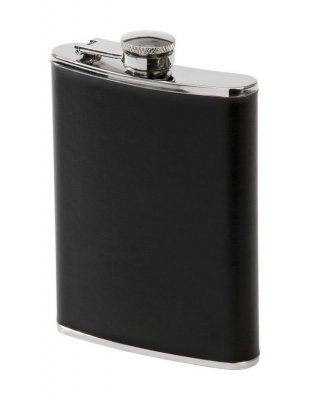 Black leather hip flask