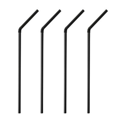 Environmentally friendly flexible straws 24 cm black
