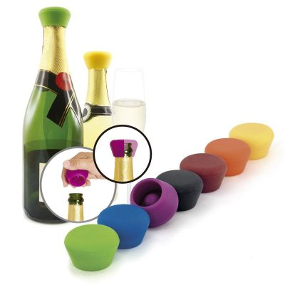 Champagne stopper silicone in mixed colors
