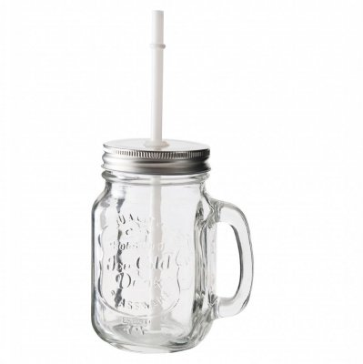 Drinking jar with straw 4-pack