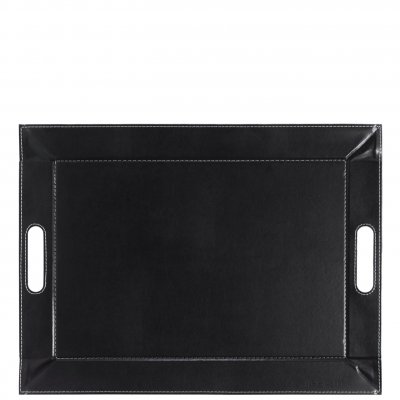Freeform serving tray black leather