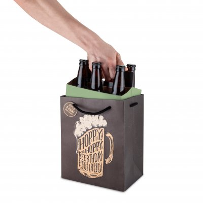 Gift bag for beer bottles - Hoppy Beerthday