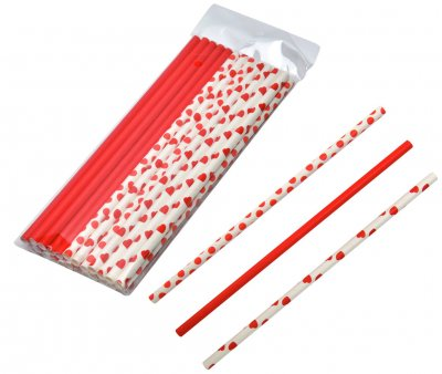 Straws paper red and white 24-pack