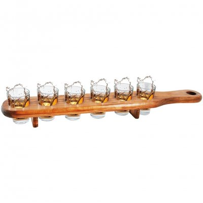 Shooter Glass Set 6 With Wooden Slat