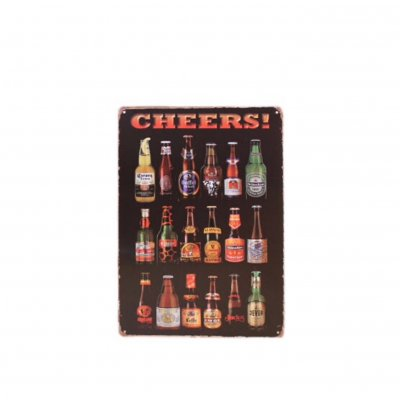 Wall sign with beer bottles - Cheers!